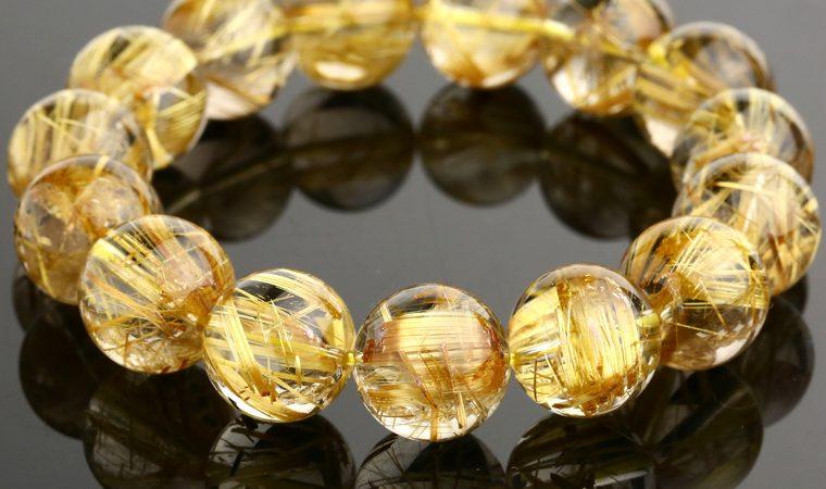 vòng tay đá phong thuỷ thạch anh tóc vàng lóng lánh