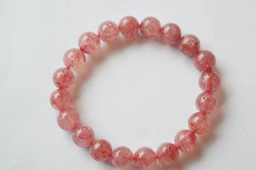 vòng tay đá phong thuỷ thạch anh dâu tây hồng